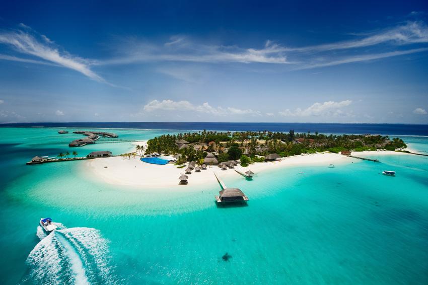 Une île hôtel aux Maldives