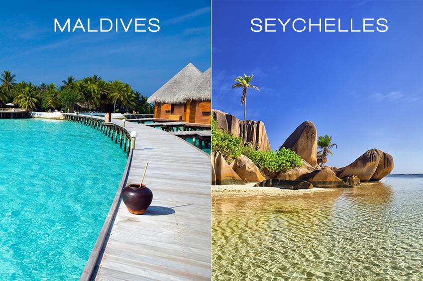 Paysages des Seychelles et des Maldives